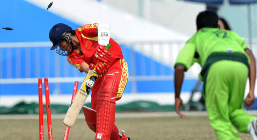 China never recovered from their precarious position of 11-4 when they started their reply while five of their batsmen were bowled as they failed to cope with Pakistan pace and direction. —AFP Photo
